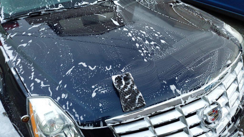 ボンネット洗車作業2